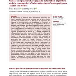Chinese computational propaganda: automation, algorithms and the manipulation of information about Chinese politics on Twitter and Weibo