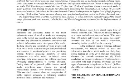 News and Political Information Consumption in Brazil: Mapping the 2018 Brazilian Presidential Election on Twitter